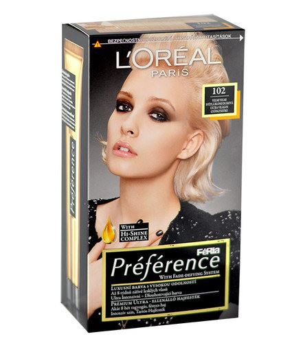 L'Oréal Paris Préférence Féria Hair Colour 1ks W 102 Iridescent Pearl Blonde