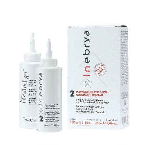 Inebrya Perm 2 For Coloured & Threated Hair 100 ml + Universal Neutralizer 120 ml